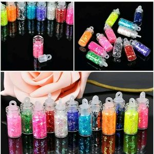 Other - 12 small glass glitter bottles for nails and art